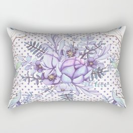 Modern lilac violet lavender polka dots watercolor floral Rectangular Pillow