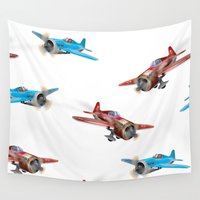 planes Wall Tapestries featuring Vintage Planes by Nick's Emporium Gallery