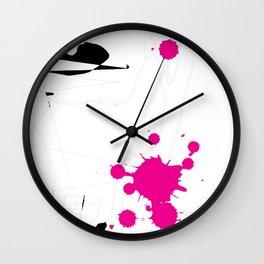 Magenta Abstract Rick Genest Wall Clock