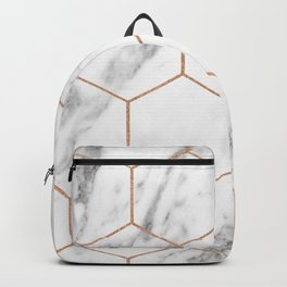 Rose gold marble hexagons honeycomb pattern Backpack