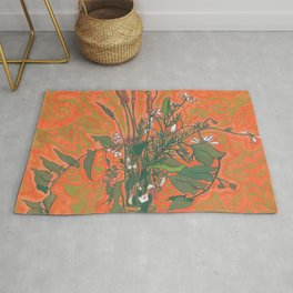 Green & Orange, Summer Wildflowers, Floral Painting Rug