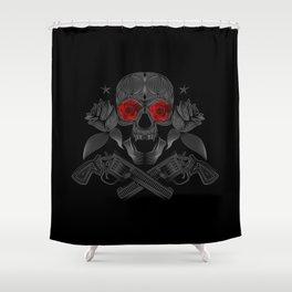 Skull, roses and guns Shower Curtain