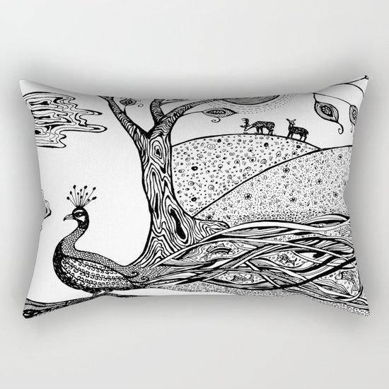 Peacock Fantasy Rectangular Pillow
