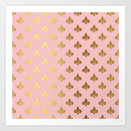 Royal gold ornaments on pink backround Art Print