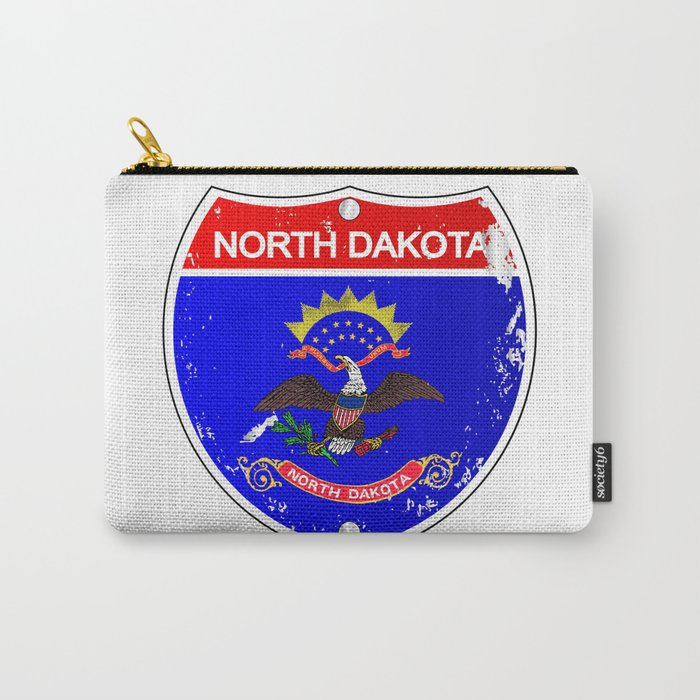 North Dakota Flag Icons As Interstate Sign Carry-All Pouch