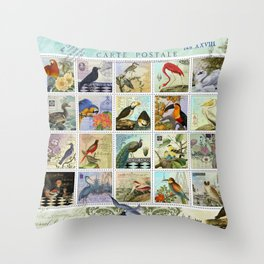 Birds of a Feather Postal Collage Throw Pillow