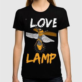 """Perfect Gift For Insects Fans Saying """"I Love Lamp"""" T-shirt Design Firefly Bee Stripe Black Yellow  T-shirt"""