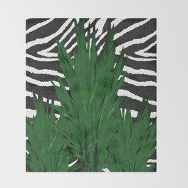ZEBRA PALM WINTER GREEN Throw Blanket