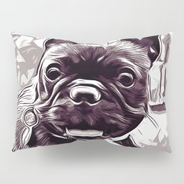 french bulldog basketball vector art black white Pillow Sham