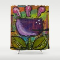 tulip Shower Curtains featuring Tulip by Kimberly McGuiness