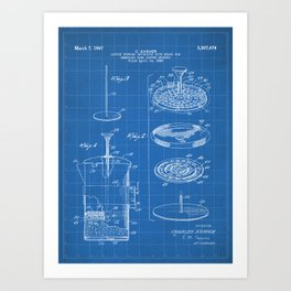 Coffee Filter Patent - Coffee Shop Art - Blueprint Art Print