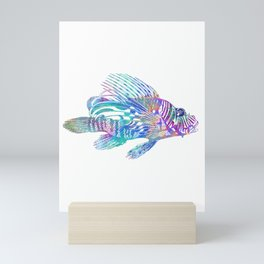 Psychedelic Lionfish Trippy Ocean Surreal Sea Creature Mini Art Print