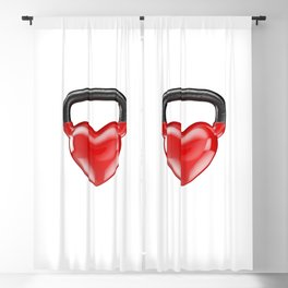 Kettlebell heart vinyl / 3D render of heavy heart shaped kettlebell Blackout Curtain