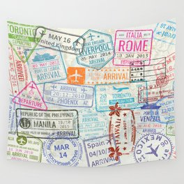 Vintage World Map with Passport Stamps Wall Tapestry