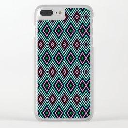 Aqua Diamond Pattern Clear iPhone Case