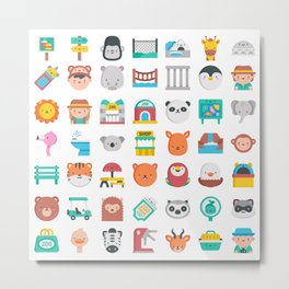 CUTE ZOO ANIMALS PATTERN Metal Print