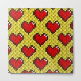 Knitted heart pattern - yellow Metal Print