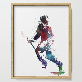 Lacrosse player art 3 Serving Tray