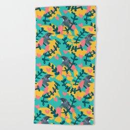 Blocky Tui Heart Print Beach Towel