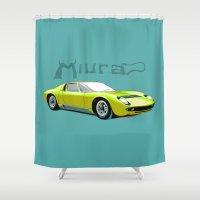 lamborghini Shower Curtains featuring Lamborghini Miura, car by Luca Olivotto