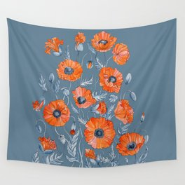 Red poppies in grey Wall Tapestry