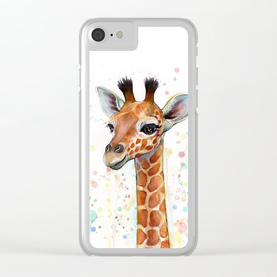 Giraffe Baby Animal Watercolor Whimsical Nursery Animals Clear iPhone Case