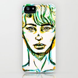Guy in blue green and orange iPhone Case