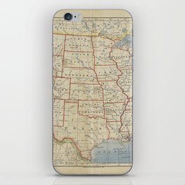 Old and Vintage Map of every States of The United States Of America iPhone Skin