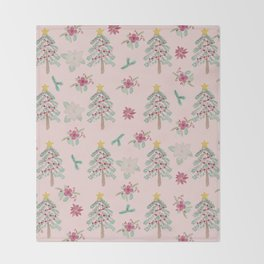 Christmas Pattern Pink Throw Blanket