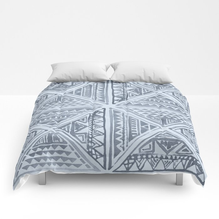 Simply Tribal Tile in Indigo Blue on Sky Blue Comforters