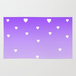Purple Ombre with White Hearts Rug