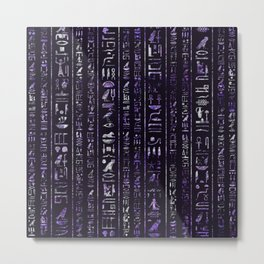 Amethyst and Silver Egyptian hieroglyphics pattern Metal Print