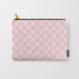 Large Light Millennial Pink Pastel Color Checkerboard Carry-All Pouch