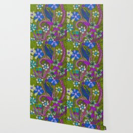 Starry Floral Felted Wool, Moss Green and Violet Wallpaper