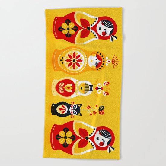 Russian Nesting Dolls – Yellow & Red Beach Towel