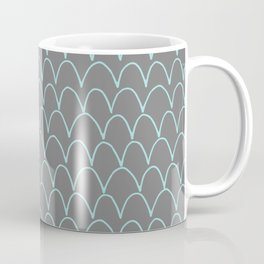 Modern gray teal trendy scallope pattern Coffee Mug