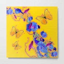 Modern Art Golden Butterflies Blue Morning Glory Abstract Metal Print