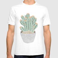 Cactus White Mens Fitted Tee MEDIUM