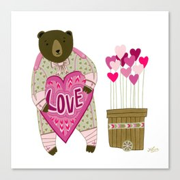 Bear with loveheart Canvas Print