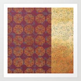 Caravans II:  Asian Print  Gold, pink  floral origami textile geometric design Art Print
