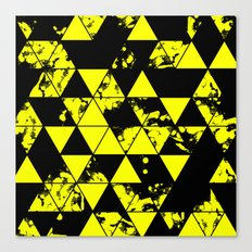 Splatter Triangles In Black And Yellow Canvas Print