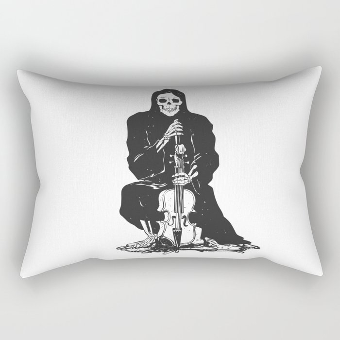 Violinist skull - grim reaper - cartoon skeleton - halloween illustration Rectangular Pillow