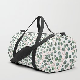 Simple Silver Dollar Eucalyptus Leaves on White Duffle Bag