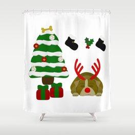 Christmas Sleeping Bulldog - Reindeer Under the Tree Shower Curtain
