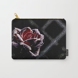 rose with water drops - digital artwork Carry-All Pouch