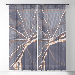 Metro Detroit Abstract Road Line Map Sheer Curtain