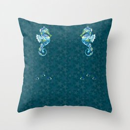 Seahorses and Tropical Fish on a background of Starfish and Shells Throw Pillow