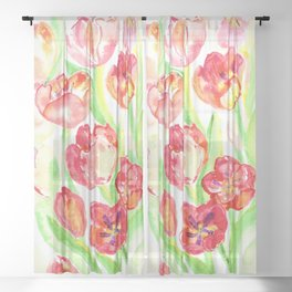Mothers Day Tulips Sheer Curtain