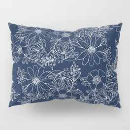 Artistic hand painted navy blue white modern floral Pillow Sham