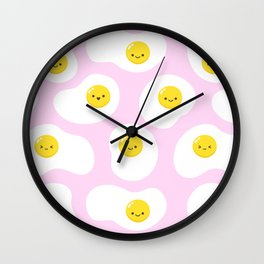 Cute Fried Eggs Pattern Wall Clock